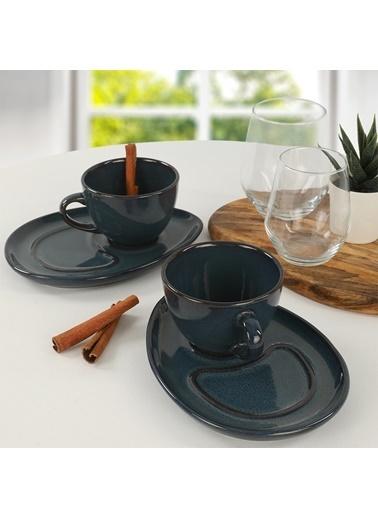 Keramika Keramika Lapis Damla Kahve Sunum Seti 4 Parça 2 Kişilik Renkli